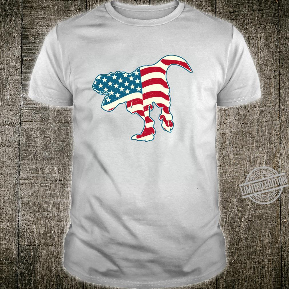 T Rex 4th of July Dinosaur Boys American Flag Shirt