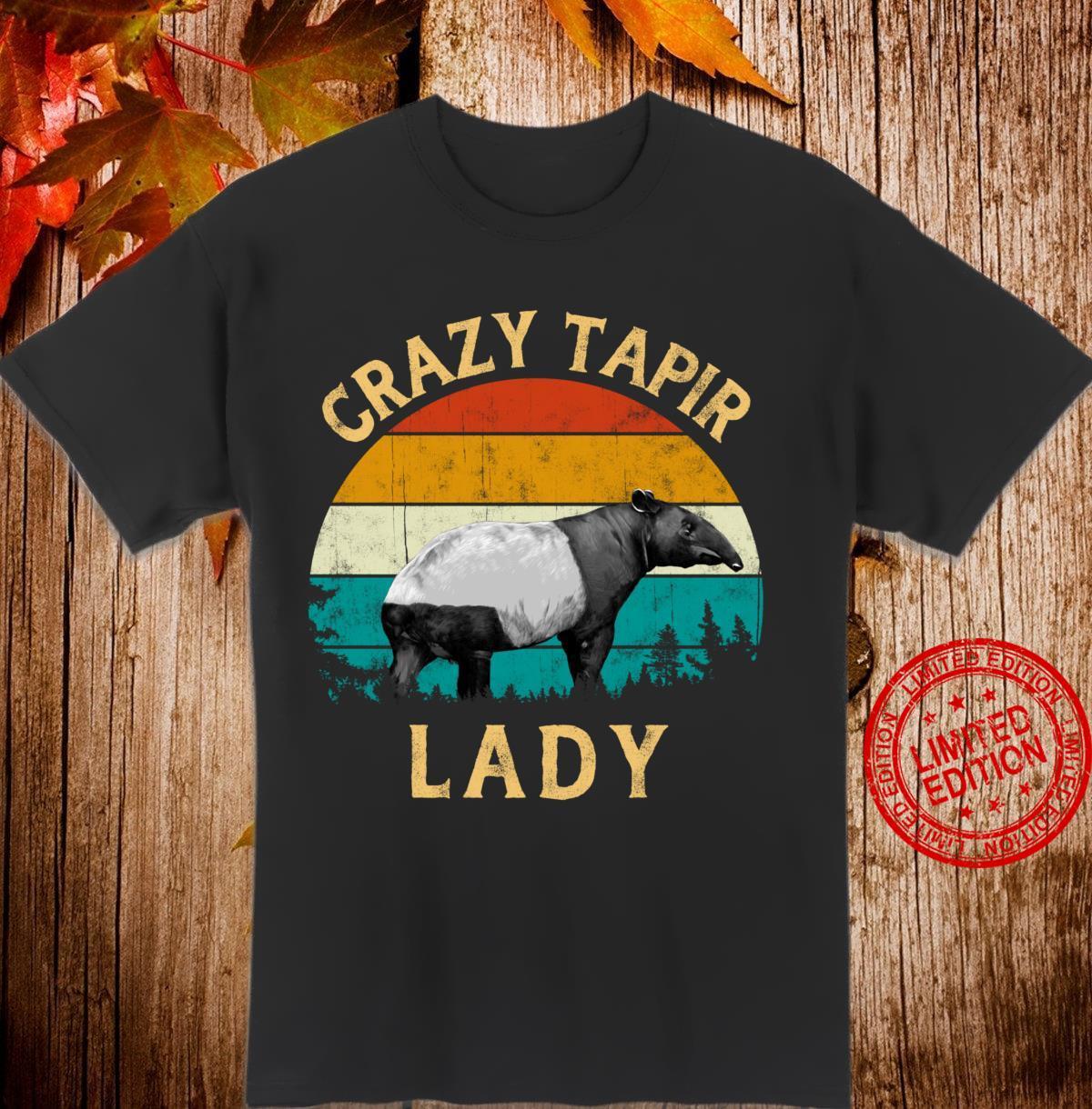 Tapir Retro Vintage Sunset Tree Crazy Tapir Lady Shirt