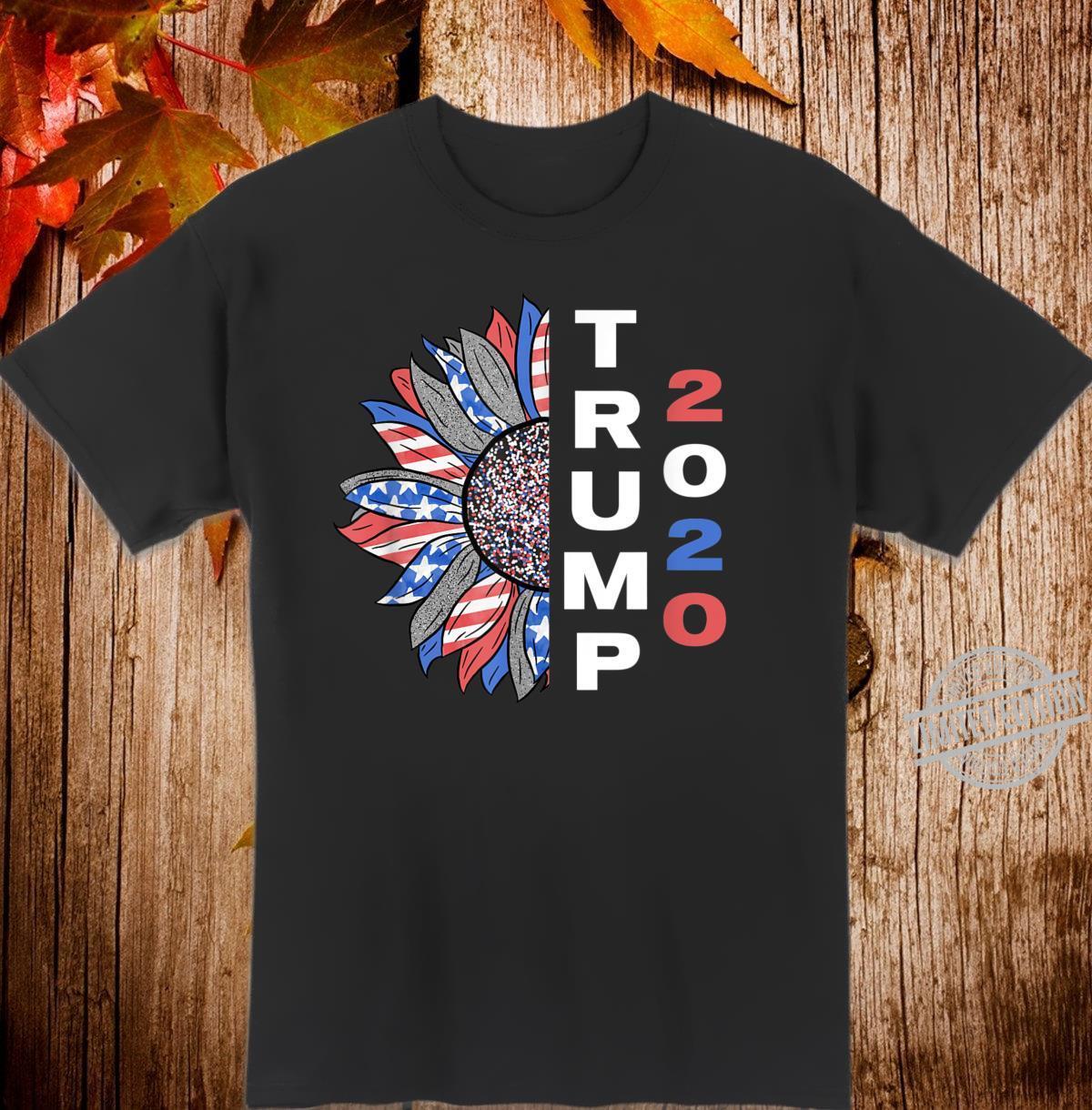 Trump 2020 Sunflower Shirt Red White Blue USA Flag Shirt