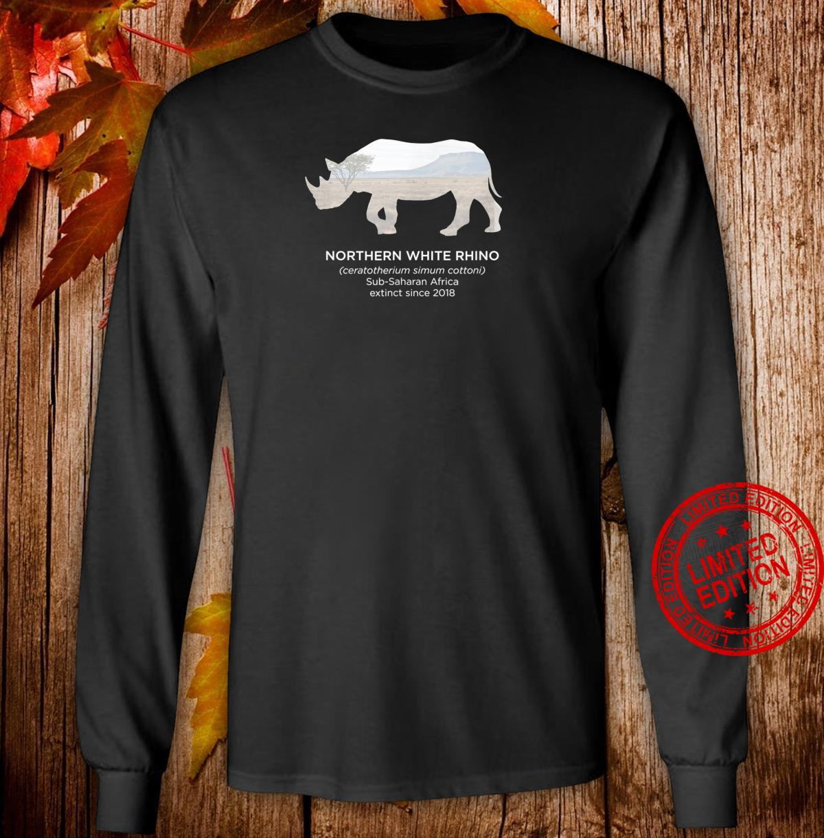 White Rhino Rhinoceros Extinct Animal Endangered Species Shirt long sleeved