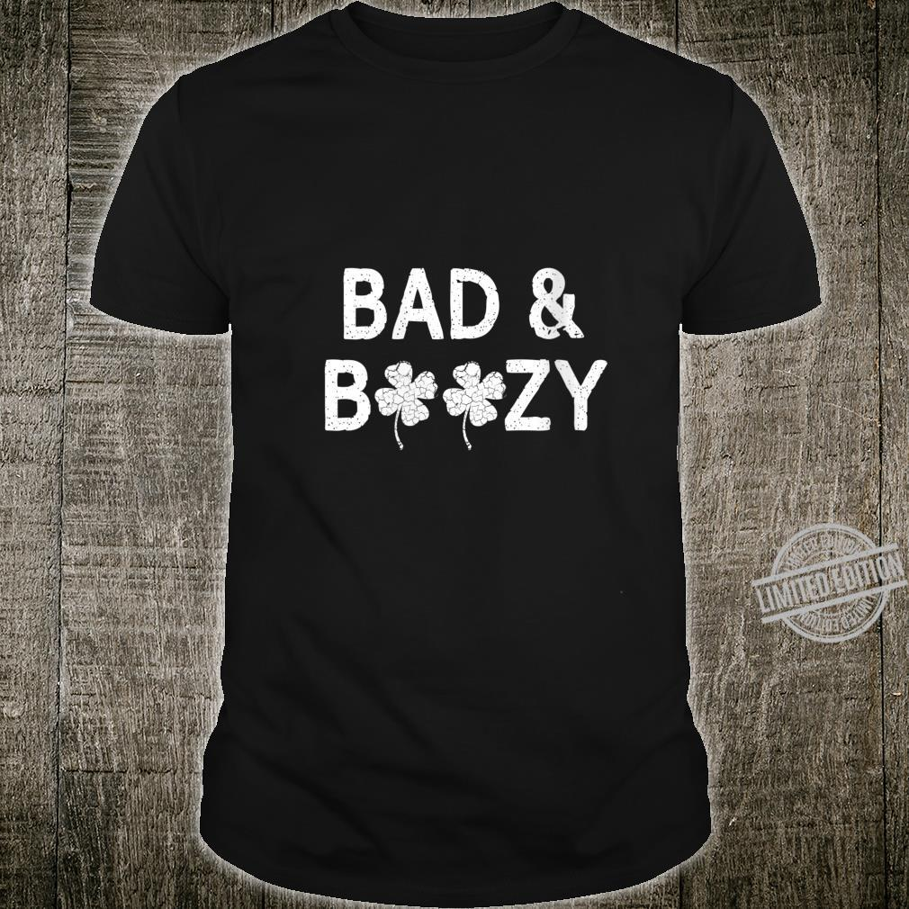 Womens Bad And Boozy St. Patricks Day Shamrock Drinking Shirt