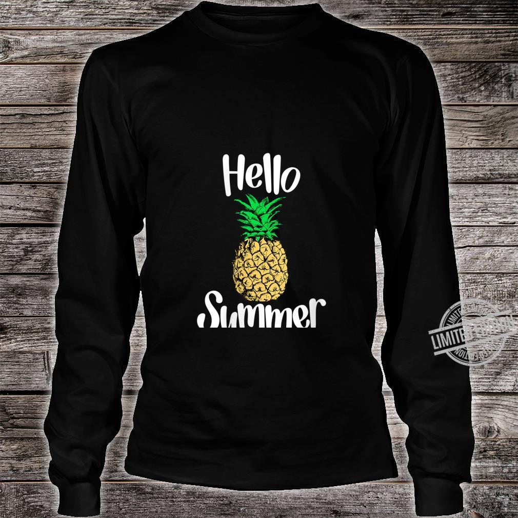 Womens Pineapple, Hello Summer Pineapple Shirt long sleeved